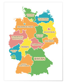 Poster  Germany map with labels for learning children - Ingo Menhard