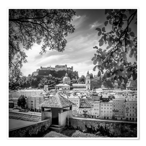 Poster SALZBURG Gorgeous Old Town with Citywall | Monochrome