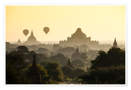 Poster  Balloon over pagodas in Bagan