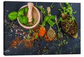 Toile  Mortar with herbs and spice