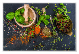 Mortar with herbs and spice