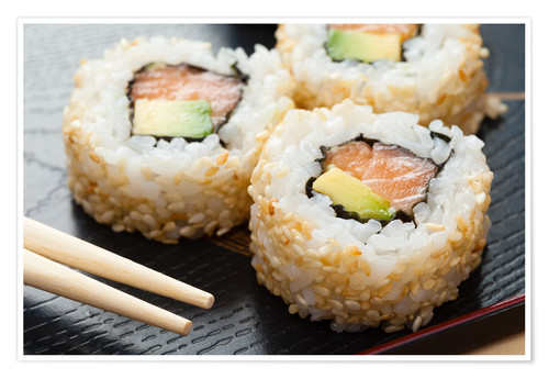 Poster Sushi on wooden plate with chopsticks