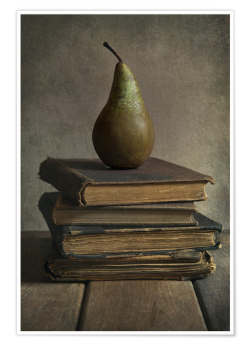 Poster Still life with books and pear