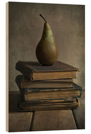 Tableau en bois  Still life with books and pear - Jaroslaw Blaminsky