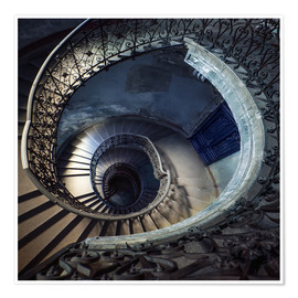 Poster Old beautiful spiral staircase