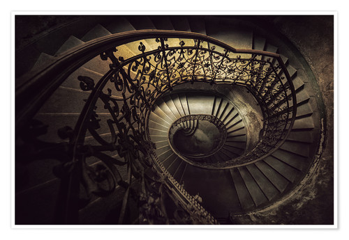 Poster Spiral staircase in brown