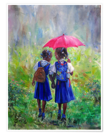Poster  magenta umbrella - Jonathan Guy-Gladding