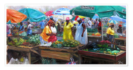 Poster  castries market - Jonathan Guy-Gladding