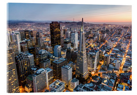 Verre acrylique  Aerial of San Francisco downtown at dusk, USA - Matteo Colombo
