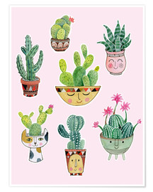 Poster  funny succulents - Janet Broxon