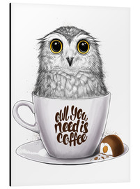 Tableau en aluminium  Owl you need is coffee - Nikita Korenkov