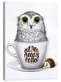 Toile  Owl you need is coffee - Nikita Korenkov