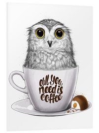 Tableau en PVC  Owl you need is coffee - Nikita Korenkov