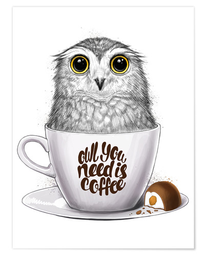 Poster Owl you need is coffee