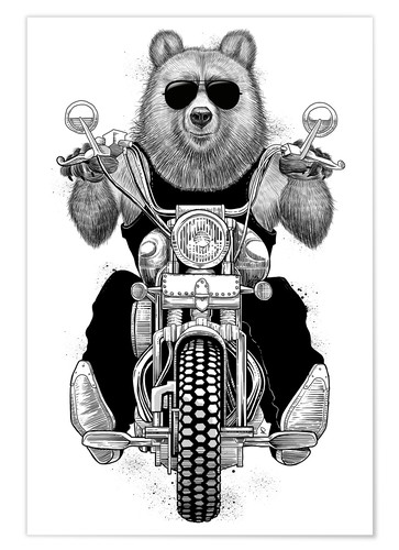 Poster L'ours motard