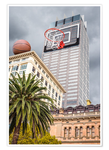 Poster Basketball hoop on skyscraper