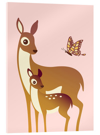 Verre acrylique  Mom And Baby Deer With Butterfly - Ashley Verkamp