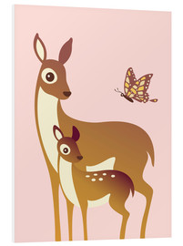 Ashley Verkamp - Mom And Baby Deer With Butterfly