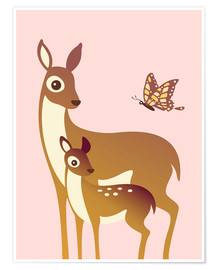 Poster  Biche et son petit avec un papillon - Ashley Verkamp