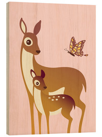 Bois  Mom And Baby Deer With Butterfly - Ashley Verkamp