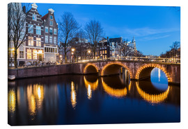 Tableau sur toile  Amsterdam Bridges at night - Mike Clegg Photography