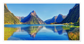 Poster  Milford Sound Mitre Peak Reflection New Zealand - Michael Rucker