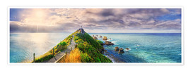 Poster  Nugget Point Panorama New Zealand - Michael Rucker