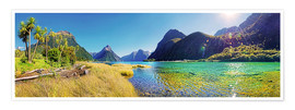Poster  Milford Sound with palms New Zealand - Michael Rucker