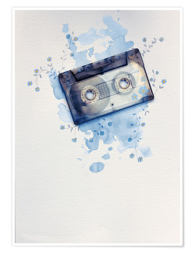 Poster Music tape with flowers and watercolour wash