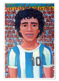 Poster Maradona and the crowd