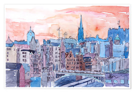 Poster  Edinburgh Sunset Over Old Town Scotland - M. Bleichner