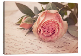Toile  Rose on the old letter - Elena Schweitzer