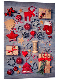 Tableau en verre acrylique  Christmas deco auf dem wooden background - Elena Schweitzer