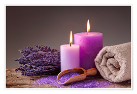 Poster  Spa still life with candles and lavender - Elena Schweitzer