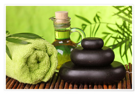 Poster Spa still life with hot stones and essential oil
