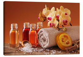 Toile  Spa still life with essential oils and orchid - Elena Schweitzer