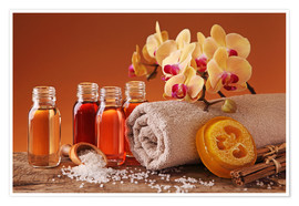 Poster  Spa still life with essential oils and orchid - Elena Schweitzer
