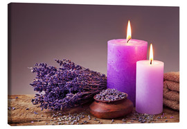 Tableau sur toile  Spa still life with candles and lavender - Elena Schweitzer