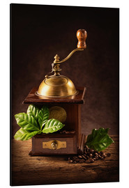 Alu-Dibond  Coffee mill with beans and green leaves and a cup of coffee - Elena Schweitzer