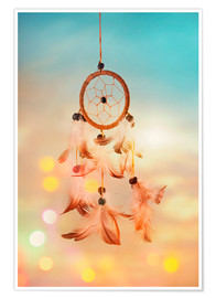 Poster Dream catcher and abstract bokeh background