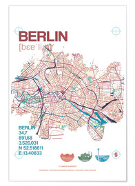 Poster Berlin city motif map
