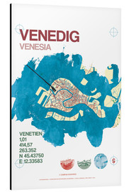 Tableau en aluminium  Carte de Venise - campus graphics