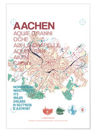Poster  Aachen city motif map - campus graphics