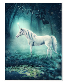 Poster Unicorn in the magic forest