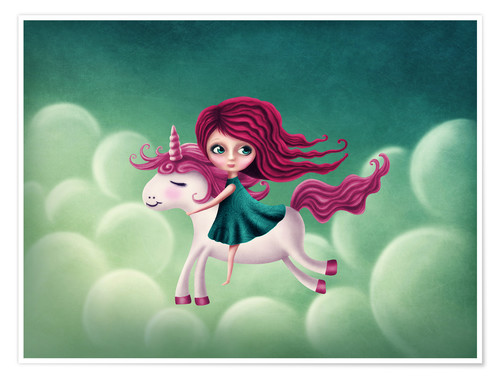 Poster Illustration with a unicorn with a girl
