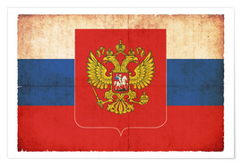 Poster Old flag of Russia with coat of arms in grunge style