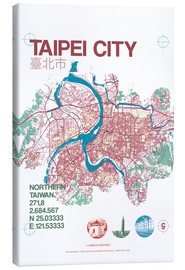 Tableau sur toile  Taipei City Map - campus graphics