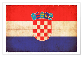 Poster Old flag of Croatia in grunge style