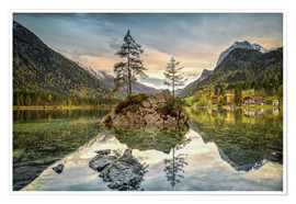 Poster Hintersee at an evening in spring