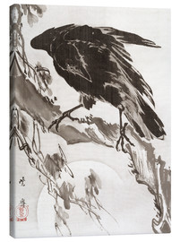 Tableau sur toile  Crow and the Moon - Kawanabe Kyosai